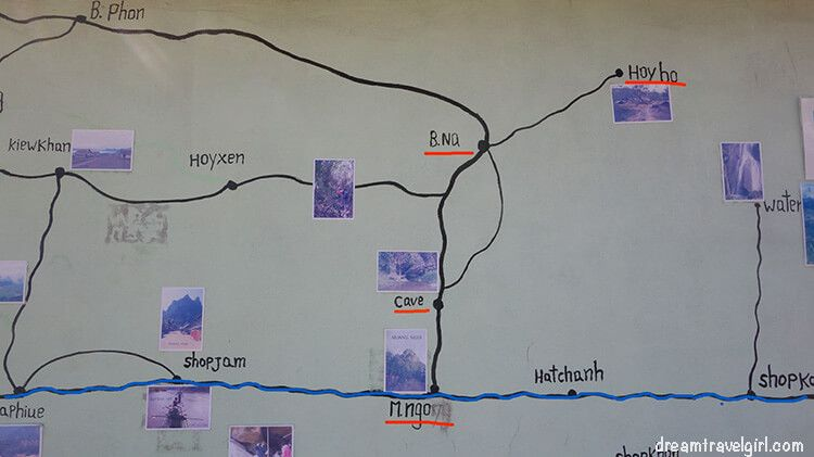 Blue line = Nam Ou river; thick black line = main road; thin black line = path, not always clear. There is a river crossing from Muang Ngoi to Ba Na, and another from Ba Na to Huay Bo.