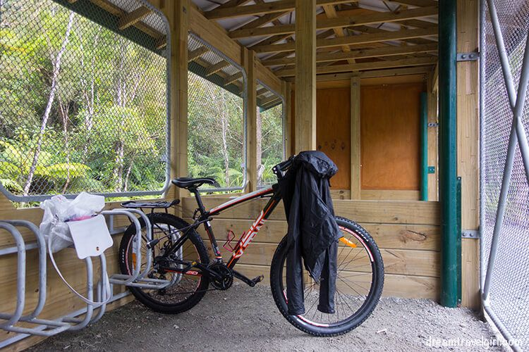 The bike shelter (and my completely wet light rain jacket)