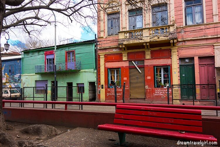 Colorful houses and bench in La Boca