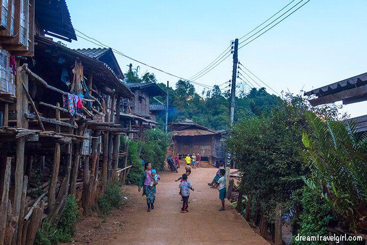 Main street and kids playing