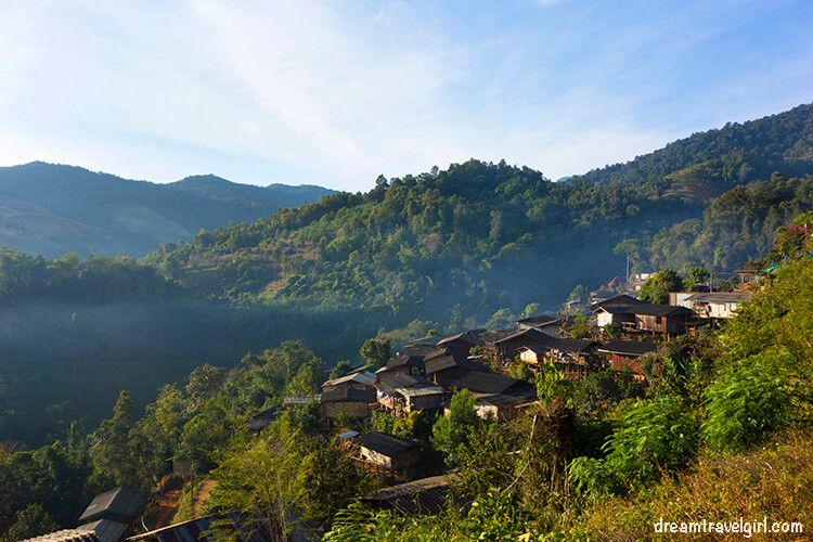 Lahu village and mountain views