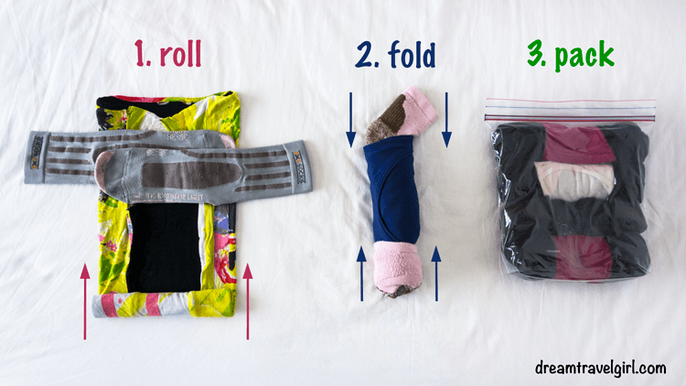 How to roll clothes so they take less space