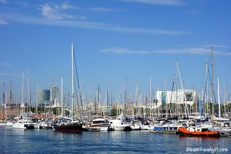 Boats at Barcelona harbor