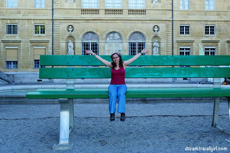 Me sitting on the Giant bench in Neuchâtel