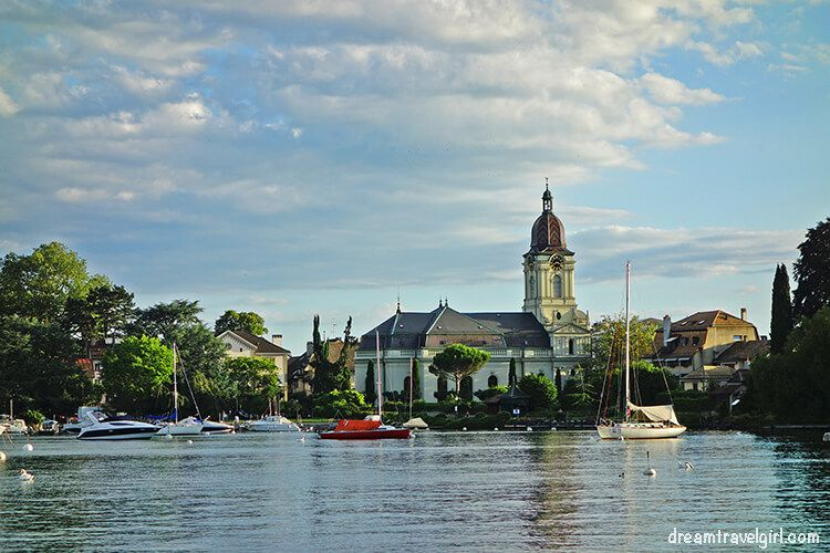 Morges church seen from the lake shore