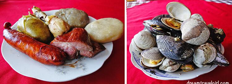 Curanto al hoyo: meat, potato, milcao and chapalele (left) and sea food (right)