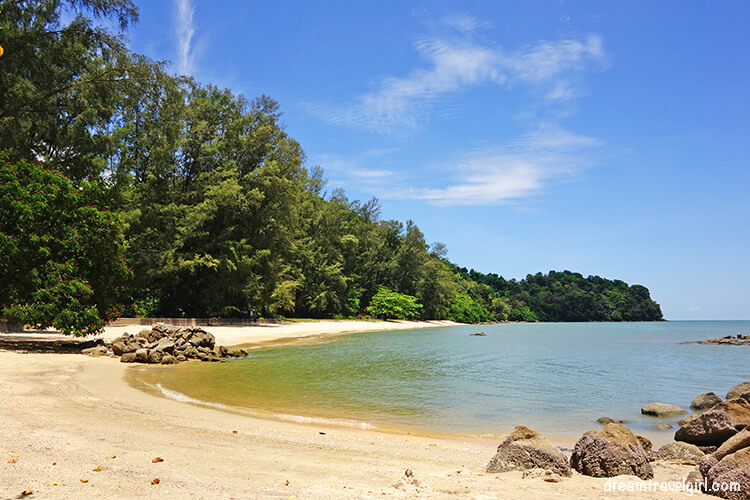 Secluded sandy beach, Teluk Kumbar, Penang