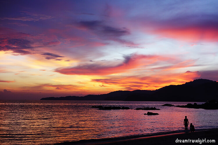Sunset at the sandy beach in Teluk Kumbar, Penang