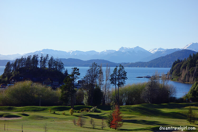 Bariloche Argentina: lake and mountains seen from hotel Llao Llao