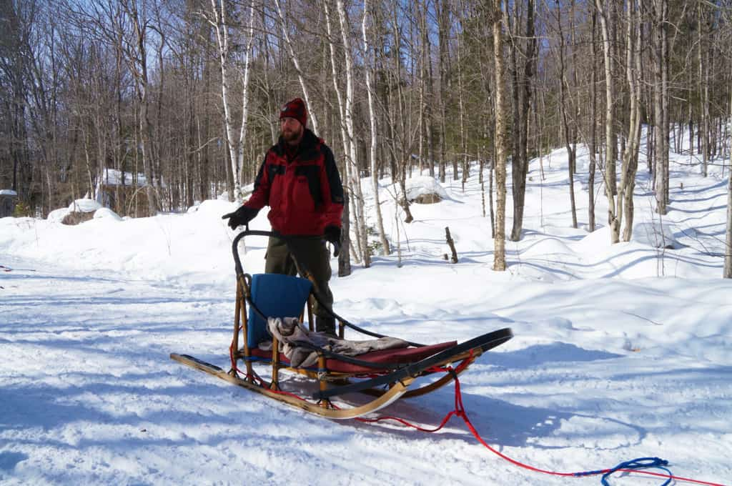 Winterdance-dog-sled-tour-Mike shows us the sled