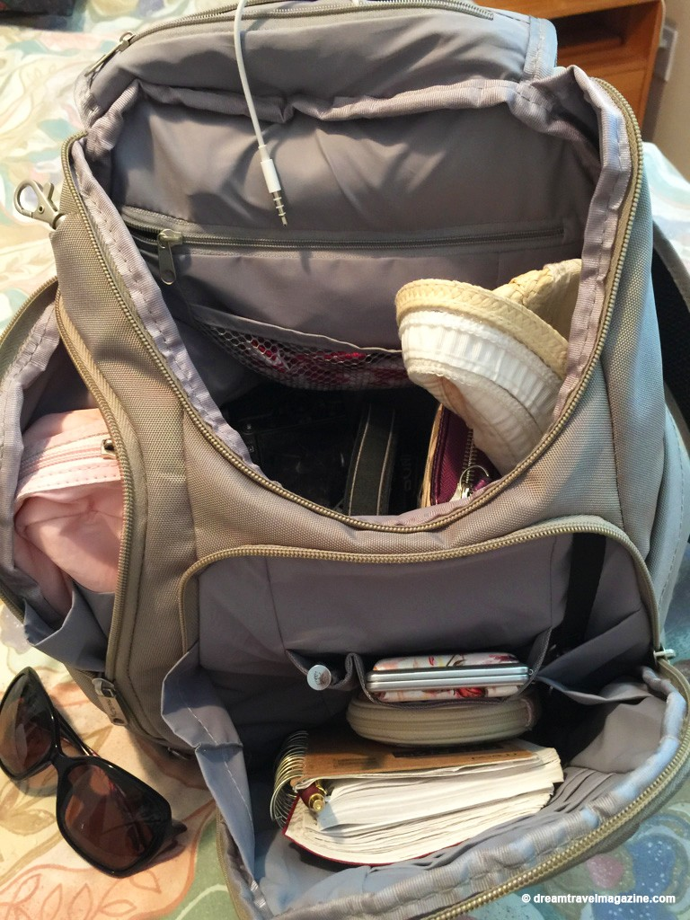 Review Travelon classic anti-theft backpack. Small backpack with lots of room for camera and all your day gear.