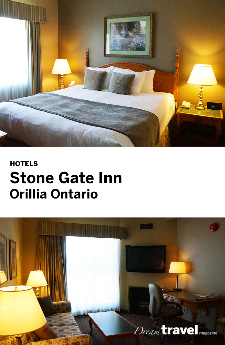The Stone Gate Inn in Orillia Ontario is a small boutique hotel with nice suites and very close to downtown Orillia.
