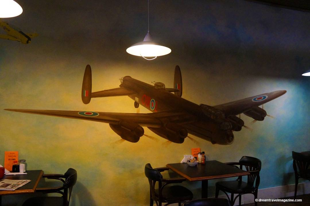 Airplane painted on the wall in Flyers Bakery and Cafe Dunnville Ontario