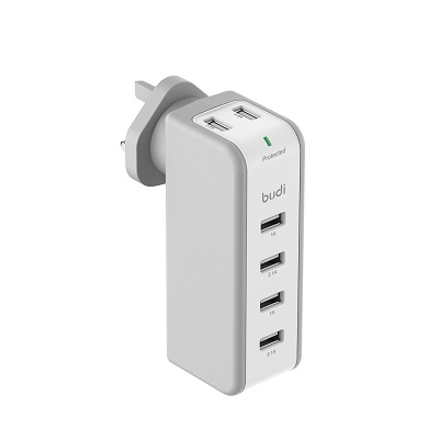 Budi Home Wall Charger 6 USB Port With Swivel Plug - M8J301U