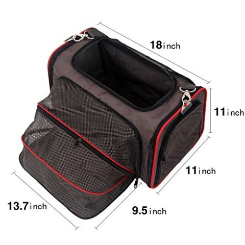 Petsfit Expandable Travel Dog Carrier with Fleece Mat, Most Airline Approved Pet Carrier