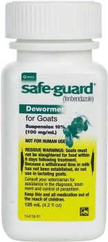 Safeguard Dewormer labeled for cows and goats but Safe for Puppies