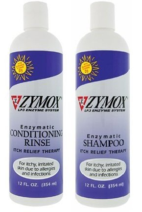 Zymox Itch 12oz Relief Shampoo and 12oz Conditioning Rinse Bundle, Both with Vitamin D3
