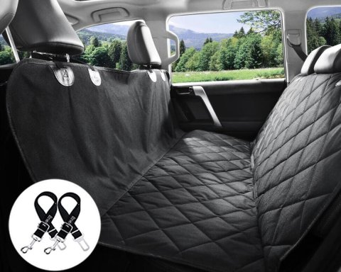Bonve Pet Dog Seat Cover - Waterproof Pets Car Seat Covers Liner with 2 Adjustable Pet Car Seats Safety Belts