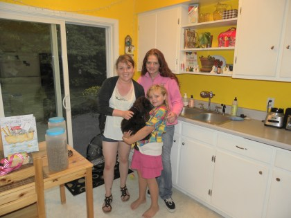 """Me and Olivia dropping off a Labradoodle Puppy """"Maybelle"""" with her new Mommy"""