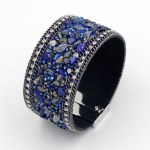 Women Wrap Leather Bangles Bracelets. Mosaic Crystal Blue Stone with Magnet Clasp.