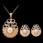 Matte Gold Color imitation necklace and stud earrings set.