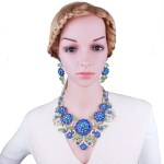 Flower necklace and earrings jewelry sets.