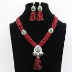 Beads Jewelry Set with Drop Water Earrings. Beads Bridal Jewelry Sets