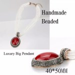 Beads Jewelry Set Big Pendant Necklace And Crystal Earrings
