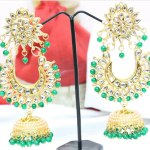 Indian Party Wear Maang Tikka Earring Set. Bollywood jewelry.