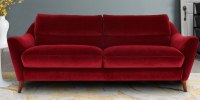 Rozelle Three Seater Sofa In Maroon Velvet | Dreamzz ...