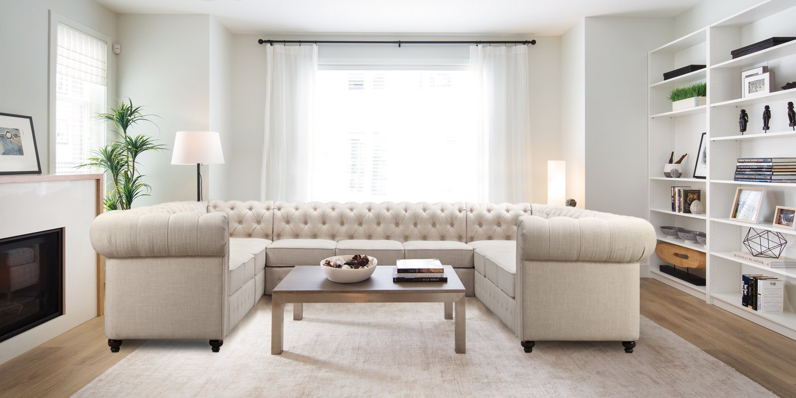 Impressive Chesterfield U Shape Sectional Sofa In Beige Colour