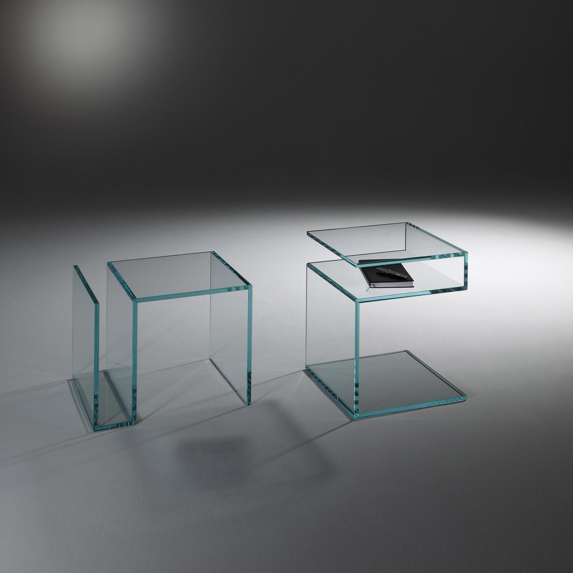 glass side tables made in germany