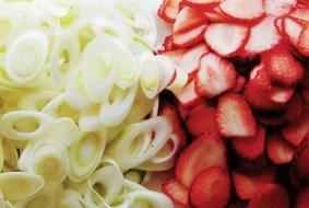 ネギの斜め切りや柔らかいイチゴも美しく