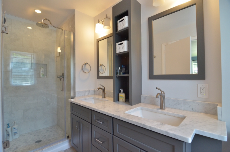 Classic Bath With Grey Vanity In Media Pa