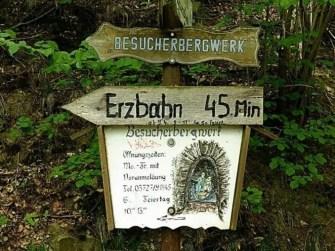 Besucherbergwerk Erzbahn HInweisschild