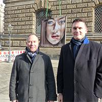 """nmd – Licht am Bau GmbH""-Geschäftsführer Andreas Krawczyk (links) mit SIB-Geschäftsführer Christian Müller. Foto: meeco Communication Services"