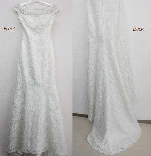 ビーズ刺繍レース素材のウエディングドレス
