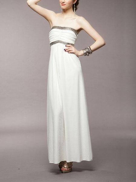 White Chiffon Sequin Maxi Strapless Gown