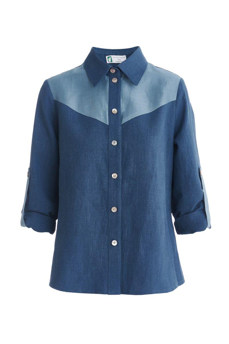 Blue-ramie-tshirt-for-women