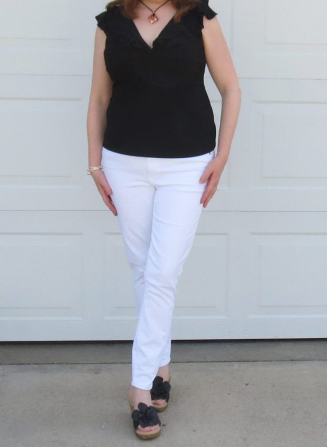 Black Ruffle Top WIth White Jeans