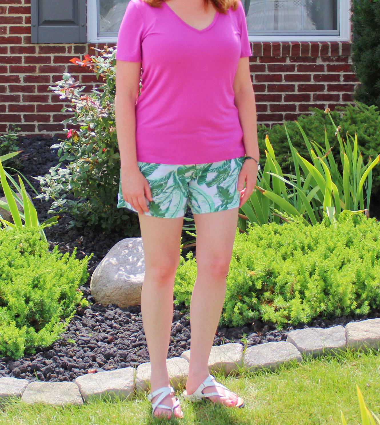 Palm Tree Leaf Print Shorts And Pink T Shirt