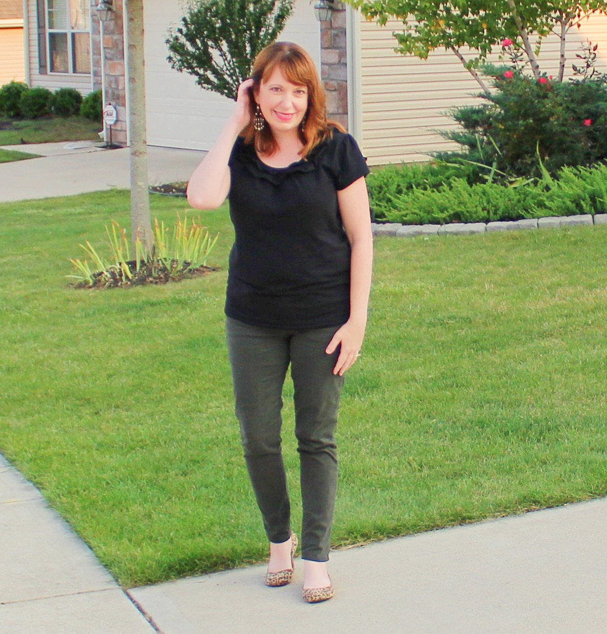 Black Ruffle Top And Spruce Green Jeans