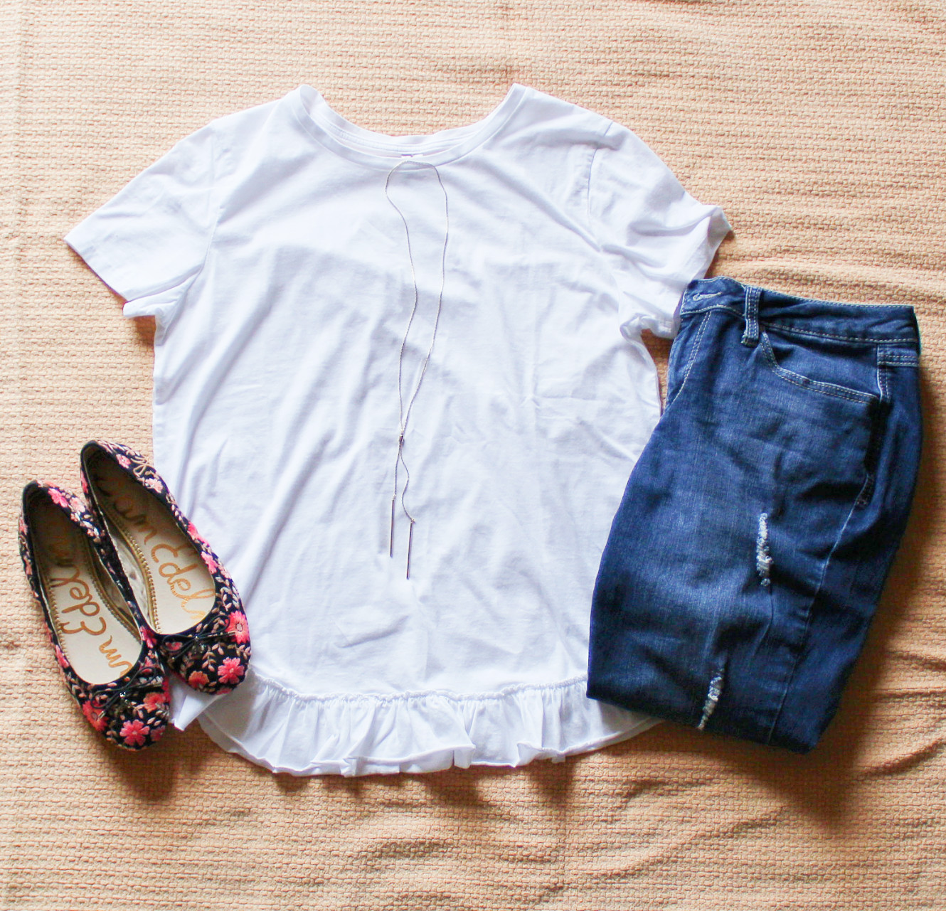 White Tee And Floral Flats With Jeans