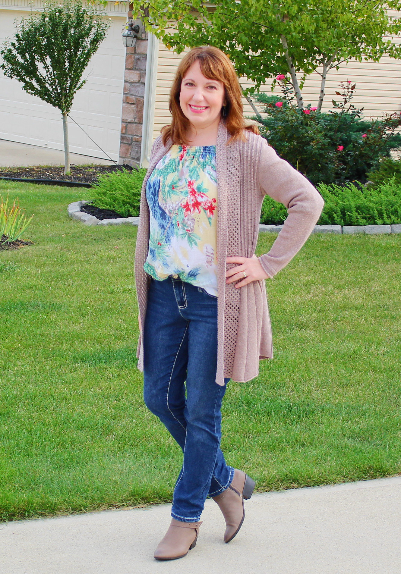 Fall Off Shoulder Top And Cardigan Casual Outfit
