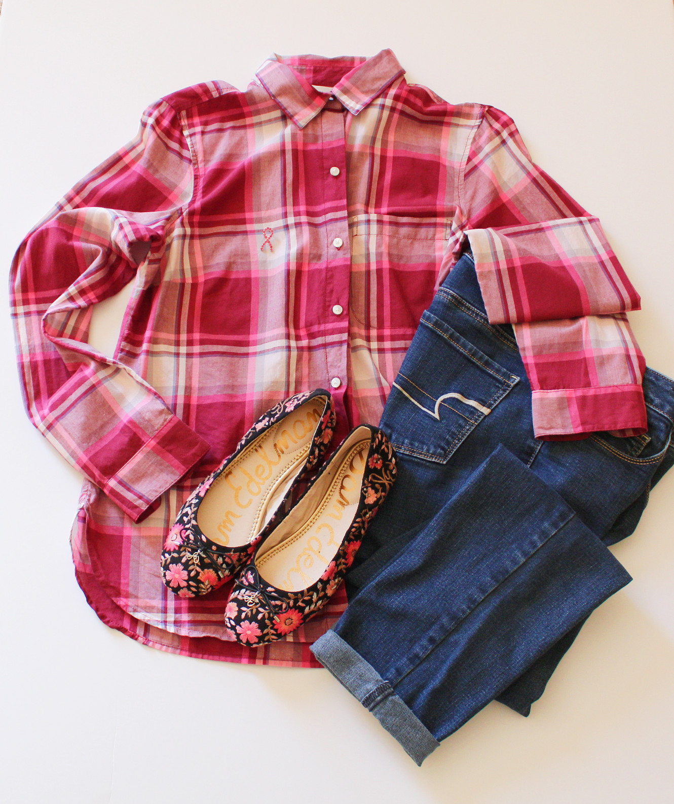 Plaid Shirt With Jeans And Floral Flats