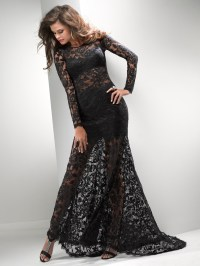 long black lace prom dress with sleeves