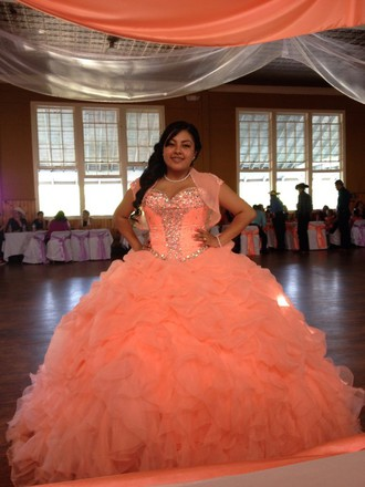 SILK SATIN TULLE BALL GOWN STRAPLESS BEADED AND