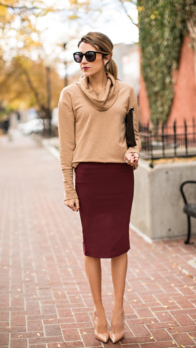 Burgundy Skirt Dressed Up Girl
