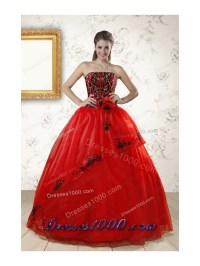 Cheap Red Appliques Strapless Quinceanera Dresses for 2015 ...