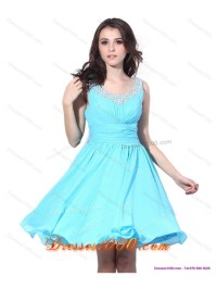 Perfect Beading and Ruching 2015 Short Prom Dress in Aqua Blue